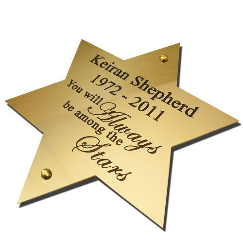 "Solid Brass Star plaque 6"" high"